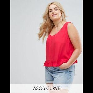 ASOS Curve   Bright Red Ruffle Tank
